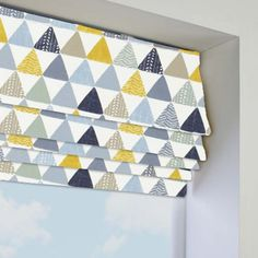 Pyramids Ochre Roman Blind in Yellow/Grey/Multicoloured. This Roman Blind includes guarantee and child safety features. Living Room Blinds, House Blinds, Pyramid Collection, Kitchen Blinds, Grey Lounge, Roman Blinds, Window Sill, Child Safety, Grey Yellow