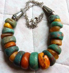 ambre marocain antique et ancien collier de perles de amazonite, 121 g | eBay