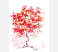 Abstract tree original watercolor painting by AndreaPaintings, $20.00