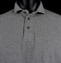 Z Zegna Pique Polo Shirt Mens XL Heather Gray SS 100% Cotton Z Logo Slim Fit EUC #ZZegna #PoloRugby