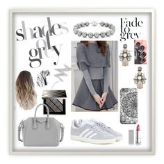 """""""Shades of grey"""" by mk19972000 ❤ liked on Polyvore featuring Lipstick Queen, Burberry, adidas, Givenchy, Sole Society, Bling Jewelry, NYX and Bobbi Brown Cosmetics"""