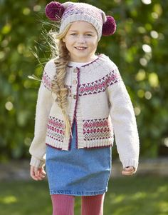 This classic fair isle colour work cardigan and adorable matching pom pom hat in Country Classic DK will keep kids from two to eleven cosy. Knitting Wool, Double Knitting, Baby Polo, Knit Crochet, Crochet Hats, Yarn For Sale, Universal Yarn, Roll Neck Jumpers, Fair Isle Pattern