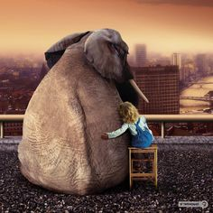 Image produced for Cote d'Or chocolate • cute little girl with her elephant-boyfriend