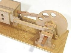 Air or Vacuum powered wooden engine.