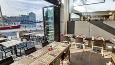 Restaurant De Burgerij serves all kinds of creative burgers, Antwerp Belgium, with view over the Scheldt river