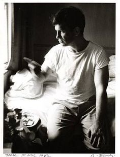 """Jack Kerouac in NYC (photograph by Robert Frank, 1962) """"What I've got to learn is my own mind, not the one that was fitted over it like a mortar-board in my booklearning. In America there's a claw hanging over our brains, which must be pushed aside else it will clutch and strangle our real selves."""" (1948)"""