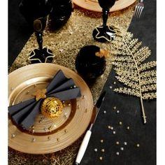 Decoration de table de noel noir et blanc