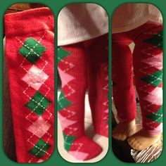 American Girl Doll Leggings from a sock- so cute with holiday socks!