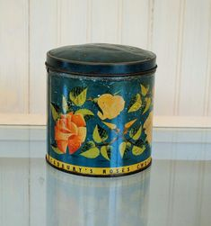 Flower tin CADBURYS biscut tin MADE in ENGLAND vintage antique tin flowers pink yellow blue teal turquoise romantic shabby chic lovely English biscuit or candy tin  the colors on this are so soft and charming...perfect for the romantic home......  lovely and charming....much loved.......as is marked MADE IN ENGLAND   4.5 x 4.5 inches ever so lovely and romantic nicely made.... scratched patina and charm....a few dings in the lid...but lovely all the same…