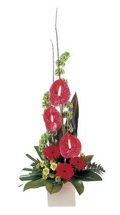 modern flower arrangement including anthuriums gerberas chrysanthemums