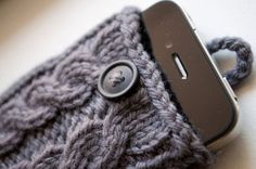 Gray Double Cable Knit iPhone Case