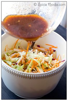 Thai Inspired Kohlrabi Slaw; Thai Coleslaw; coleslaw; slaw; cabbage salad; salad; Kohlrabi; carrot; peanuts; red curry; curry paste; curry salad; recipe; ginger; Spicie Foodie; raw; fresh; organic; healthy; low fat; low calorie; high fiber; Thai Salad