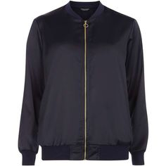 Dorothy Perkins Navy Satin Bomber Jacket ($55) ❤ liked on Polyvore featuring outerwear, jackets, blue, bomber style jacket, navy blue jacket, zip jacket, satin jackets and navy bomber jacket