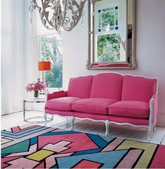 Think pink!  Matthew Williamson rug from The Rug Company.  Photo from Anna Spiro's blog.