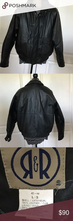 Men's Leather Jacket Men's Leather Jacket, size Large, EUC, there is a very small scuff on arm opening as pictured. Still a handsome coat. Smoke free home and ready to ship. Jackets & Coats