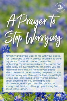 Prayer quotesA daily prayer to stop worrying Pray for Gods peace which passes understanding Pray more worry less placing your trust in God Kathryn Shirey Prayer Scriptures, Bible Prayers, Catholic Prayers, Faith Prayer, Bible Verses Quotes, My Prayer, Worrying Quotes Bible, Healing Scriptures, Prayer Board