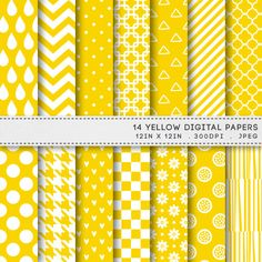 Yellow Digital Paper Printable Paper Pack Patterns by AzmariDigitals