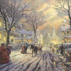 Christmas - The look of Christmas, with its trees and garlands and twinkling lights, is of course well known. But for Thomas Kinkade Studios, the challenge in painting Vintage Christmas Images, Victorian Christmas, Christmas Pictures, Victorian Art, Christmas Scenes, Christmas Past, Christmas Carol, Christmas Greetings, Thomas Kinkade Art