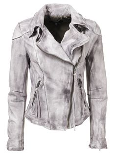 Muubaa Cortez Raw Seam Leather Biker Jacket in Dark Clouds