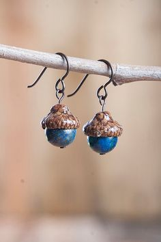 Real Acorn Earrings with Jasper and by NuttierThanASquirrel