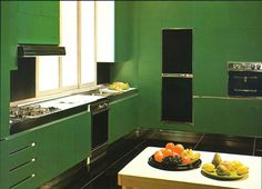 cuisine darty de couleur safran au design arrondi avec plan de travail en corian cuisine en. Black Bedroom Furniture Sets. Home Design Ideas
