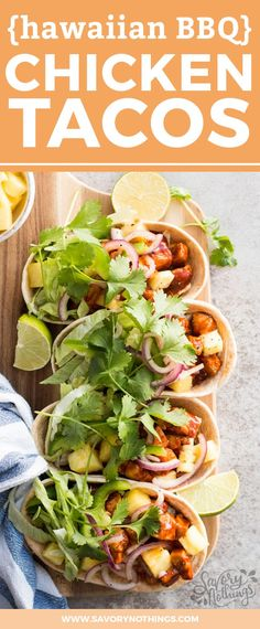 This will become your new favorite chicken tacos recipe! The hawaiian bbq sauce is SO easy to make, and the entire recipe comes together in just 30 minutes for a quick family dinner idea. Serve them in fun soft taco boats to turn them into great party food!