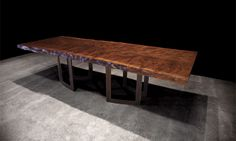 JOHNHOUSHMAND - No. 0181 Black Walnut Dining Table with open square bronze base