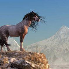 Wild Horse Digital Art - Mustang by Daniel Eskridge Most Beautiful Horses, All The Pretty Horses, Animals Beautiful, Majestic Horse, Majestic Animals, Cute Horses, Horse Love, Horse Photos, Horse Pictures
