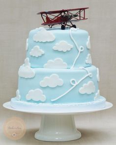 Vintage aeroplane cake for a boy's first birthday by BakerLou