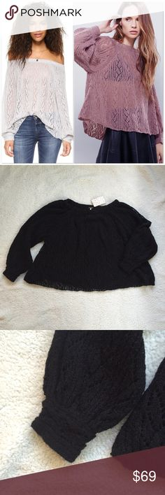 Free People Pullover Slouchy off-shoulder Free People pullover with crochet design. Elastic neckline, long sleeves, sheer. Can be worn several ways: off one shoulder, off both or regular. New with tags Free People Sweaters Shrugs & Ponchos