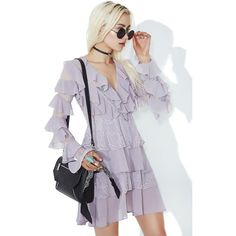 Glamorous Lilac Ruffle Mini Dress ($90) ❤ liked on Polyvore featuring dresses, long sleeve short dress, empire waist short dress, lilac short dress, long sleeve mini dress and lilac chiffon dress