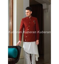 Buy a best maroon designer men suit online with best combination that looks pretty good for special occasional party wear, shop @ Kuberansilks.in for more designer men suit collections at best value. How To Look Pretty, That Look, Suit Shop, Wedding Pins, Mens Suits, Party Wear, Chef Jackets, Marriage, Silk