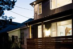 Toronto West House - the steel siding provides a cost effective durable shell while maintain a similar look to the other houses in the neighbourhood.