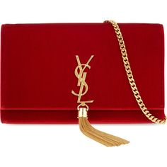 SAINT LAURENT Monogram medium velvet shoulder bag (£1,190) ❤ liked on Polyvore featuring bags, handbags, shoulder bags, rouge, shoulder bag handbag, yves saint laurent handbags, monogrammed handbags, yves saint laurent and yves saint laurent purses