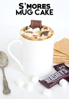 S'mores Mug Cake - The perfect summer dessert. It's quick, easy, and full of  flavor. Graham cracker crumbs, chocolate bits, and perfectly toasted marshmallows on top.