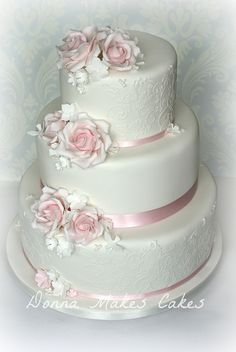 Baby Pink and White wedding cake by donna_makes_cakes, via Flickr