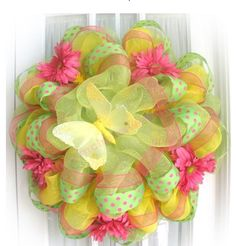 Deco Mesh Ribbon Wreaths | Tags: deco poly mesh ribbon , work wreath , wreath making