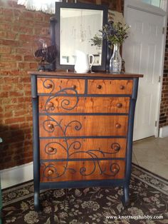 Artissimo mms two toned painted dresser with stained top and front, scroll design. Bliss and Blossom Designs