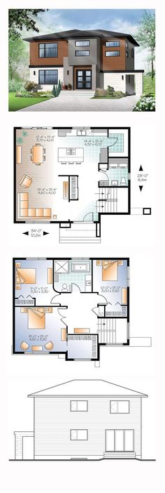 Modern House Plan 76368   Total Living Area: 1880 sq. ft., 3 bedrooms and 1.5 bathrooms. #modernhome