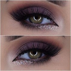 Sequined Waterline + Lashes + Eggplant Eyelid
