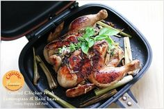 Grilled Chicken With Lemongrass and Basil Leaves using Happy Call Pan Happycall Pan Recipe, Pan Grilled Chicken, Asian Recipes, Healthy Recipes, Singapore Food, Basil Chicken, Basil Leaves, Food Reviews, Lemon Grass