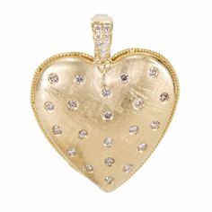 IMPRESSIVE 18K BRUSHED YELLOW GOLD 1.25 CTW DIAMOND HEART PENDANT - 15.1 GRAMS #Pendant