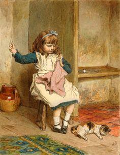 Girl Sewing by Robert Barnes,1873-1893