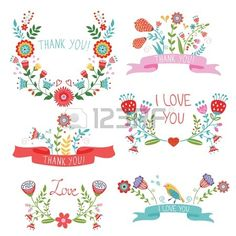 Elegant collection of floral banners for life events Stock Vector