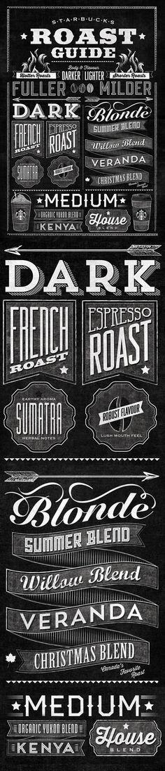 I love me some typography! Starbucks Roast Guide Typographic Mural by Jaymie McAmmond, via Behance Typography Love, Typography Letters, Graphic Design Typography, Lettering Design, Branding Design, Starbucks Art, Chalkboard Lettering, Chalk Art, Stencil