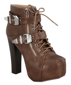 Loving this Forever Link Shoes Tan Buckle Jordon Bootie on #zulily! #zulilyfinds