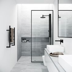 Bring modern luxury and a spacious, spa-like feel to your contemporary bathroom with the VIGO Fixed Glass Shower Screen. Modern bathroom Ideas and Design - Bathroom Inspiration - Bathroom Remodel Bathtub Doors, Frameless Shower Doors, Bathtub Glass Panel, Modern Shower Doors, Modern Bathroom Design, Bathroom Interior Design, Minimal Bathroom, Minimalist Bathroom Design, Small Bathroom Designs