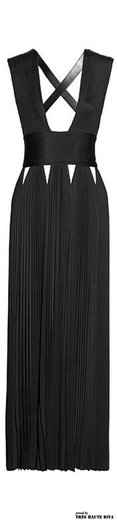 Givenchy Leather-trimmed jersey gown with cutouts           V
