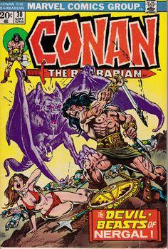 Conan the Barbarian 30 vf nm Marvel Comics Dc Comics, Conan Comics, Comic Book Covers, Comic Books Art, Comic Art, Book Art, Red Sonja, Caricature, Conan The Barbarian Comic