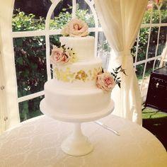 Flecked gold leaf wedding cake